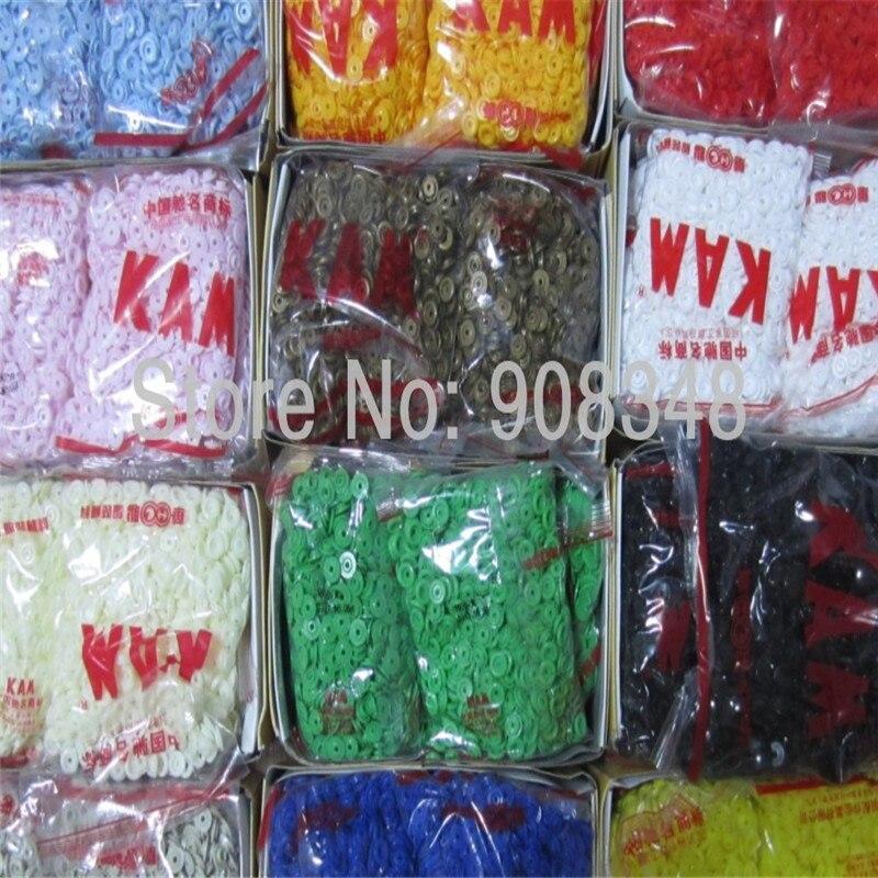 Acabado de tapas mate brillante KAM T3 T5 T8 botones de resina broche de plástico Botón de fijación, 5000 set/lote, 1000 sets/color K01