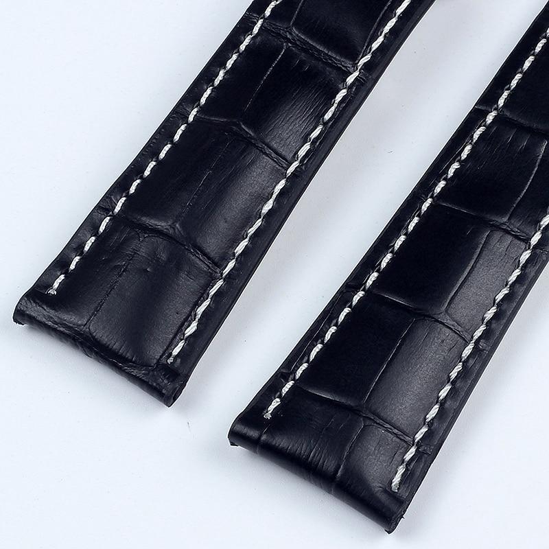 Купить с кэшбэком Genuine Leather Watch bands For NAVITIMER SUPEROCEAN AVENGER Watch Strap 20MM 22MM 24MM Black Blue Brown Watchband With Logo