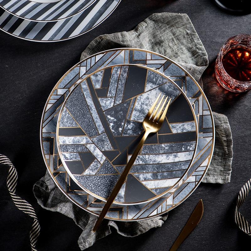 Placa criativa preto cinza ouro costura fosco textura de mármore placa cerâmica único jantar conjunto prato sobremesa placa