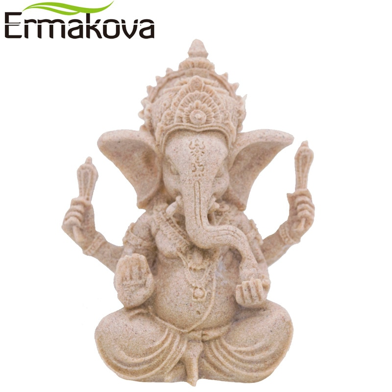 Pequeña Ganesha de la India ERMAKOVA, figura de elefante Fengshui, escultura de elefante con cabeza de elefante, dios hindú, piedra arenisca Natural, estatua de Buda