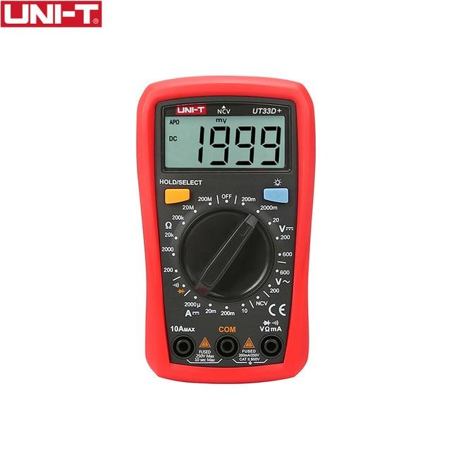 UNI-T UT33D + UT33D Multímetro Digital da Auto Escala do Tamanho Da Palma de Capatitance AC DC Voltímetro Amperímetro Resistência Tester