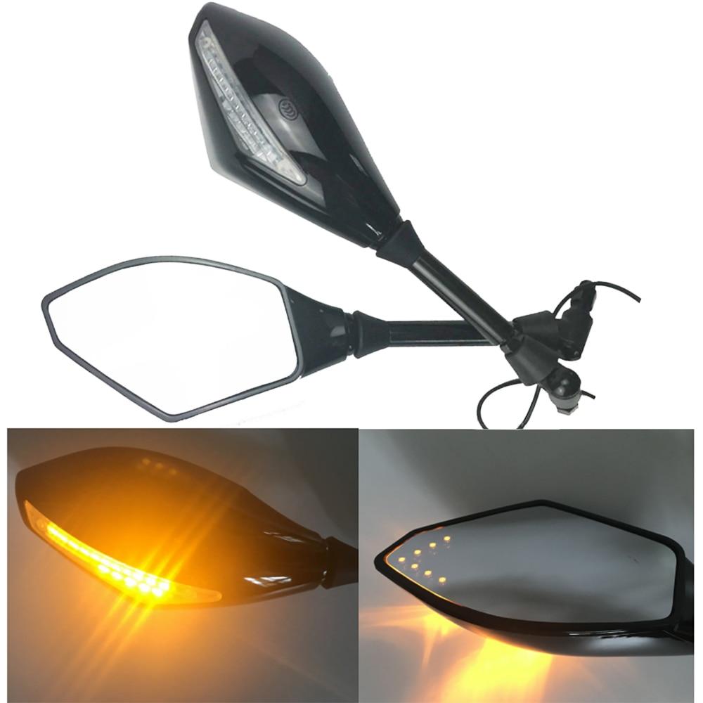 مرآة جانبية عالمية للدراجات النارية مع إشارات انعطاف LED مدمجة ، مؤشر 10 مللي متر ، للدراجات النارية ، الشوارع ، كروزر ، سكوتر