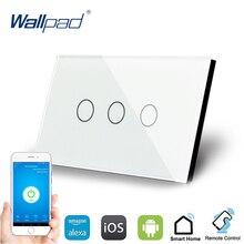 3 Gang 1 Weg WIFI Control Touch Schalter Wallpad UNS Wand Schalter Kristall Glas Panel Smart Home Alexa Google hause IOS Android