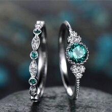 Anel de entrada lux conjunto para feminino romântico verde azul zircônia cúbica prata cor noivado 2 pçs presente moda jóias kar220