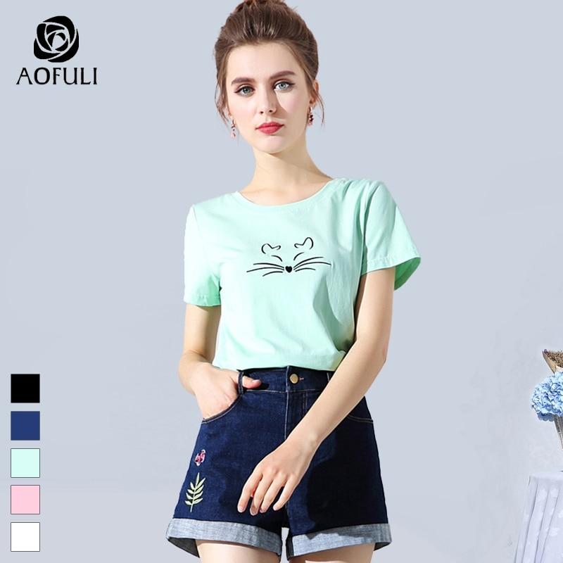 L ~ 3XL, Camiseta clásica para mujer, Camiseta de algodón de verano de talla grande con bordado de gato, camisetas casuales de Modal de manga corta, AOFULI 08512
