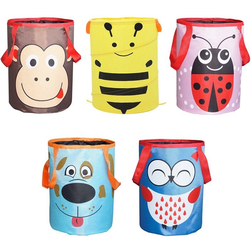1 piezas de dibujos animados de animales organizador de almacenamiento objeto de coche plegable bolsa de almacenamiento de escritorio Mini de mano de viaje bolsa colgante de dibujos animados basura puede