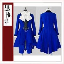 Majordome noir kuroshisuji Ciel phantom robe bleue femme Costume Cosplay sur mesure [CK1353]