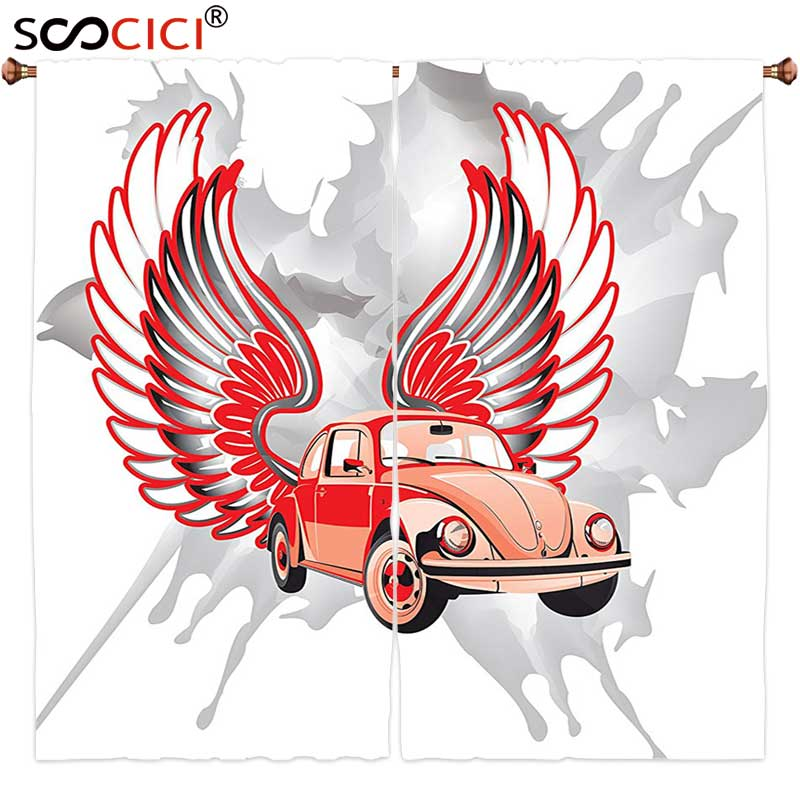 Оконные шторы обработанные 2 панели, Декор автомобилей хиппи датированный Жук автомобиль с крыльями один раз шестидесятые свободы и символ...