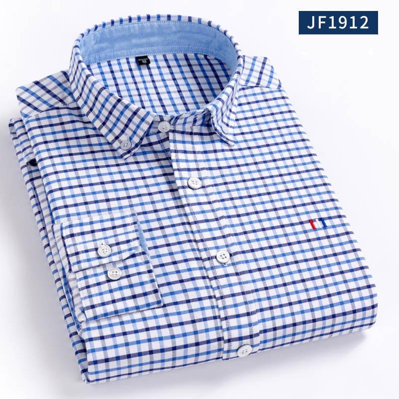 Aoliwen, camisa oxford 100% de algodón para hombres, camisa sólido a cuadros, de franela oxford, de manga larga, ajustada, de alta calidad, 100% algodón, informal inteligente