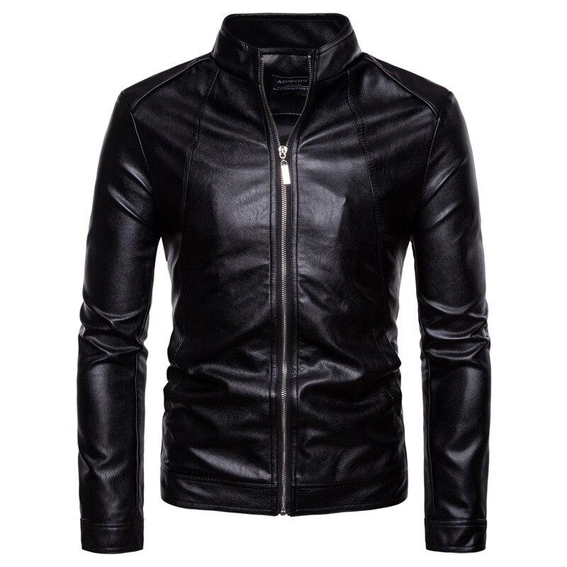 Aowofs jaqueta de couro dos homens 2018 outono casual sólido zíper motocicleta jaquetas gola preta do falso casaco de couro masculino jaket 5xl