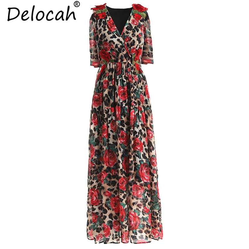 Delocah Runway Fashion Summer Plus Size Long Dress Women's Sexy V Neck Leopard Printed Appliques Elegant Vintage Vacation Dress