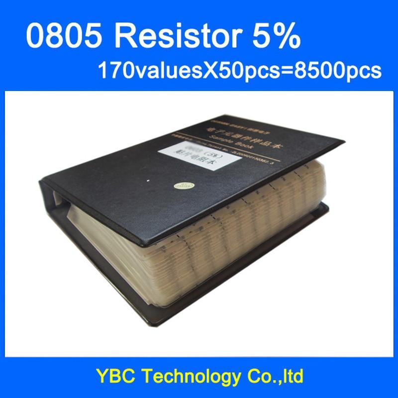 0805 SMD المقاوم عينة كتاب 5% التسامح 170valuesx50pcs = 8500 قطع المقاوم كيت 0R ~ 10 متر