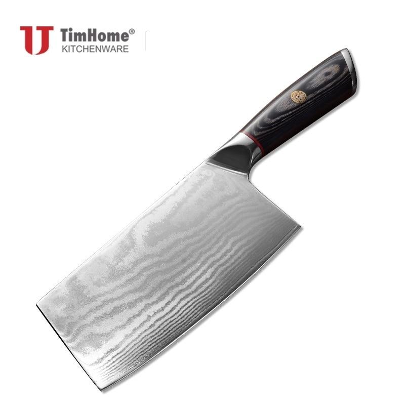 Timhome-سكين مطبخ دمشق ، 67 طبقة ، مقبض خشبي عالي الجودة