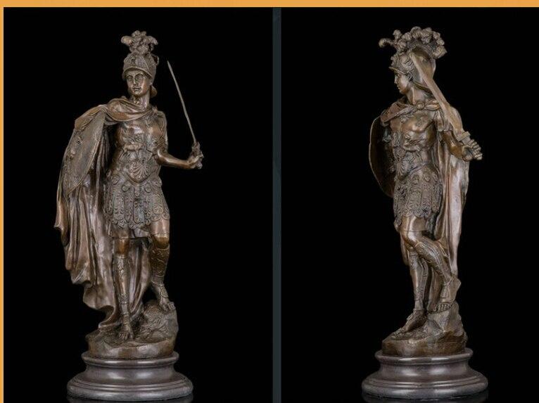 Escultura Art Deco antiguo Guerrero romano sostiene espada y escudo estatua de bronce