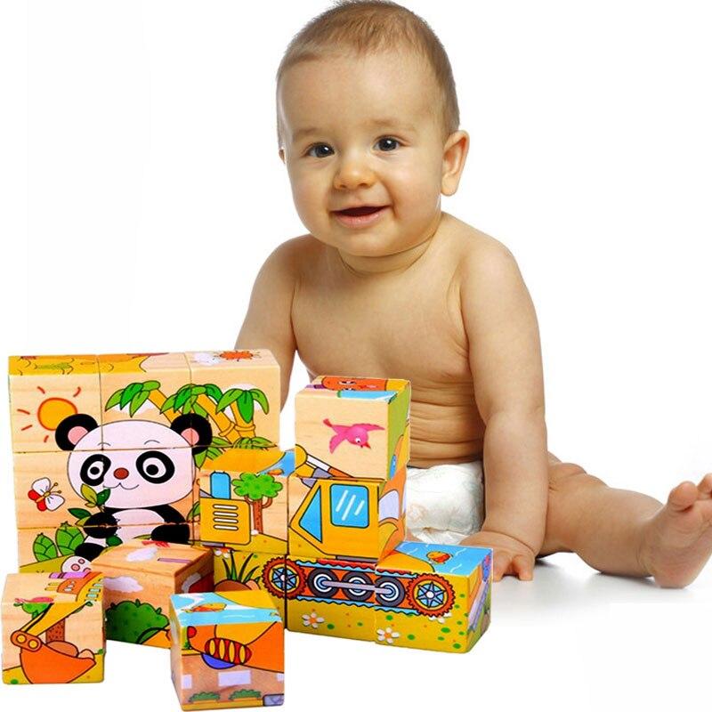 9 unids/set rompecabezas 3D de seis lados, juguetes educativos para bebés, rompecabezas de cubos mágicos de madera, Cubo de juguete de madera para niños, envío aleatorio