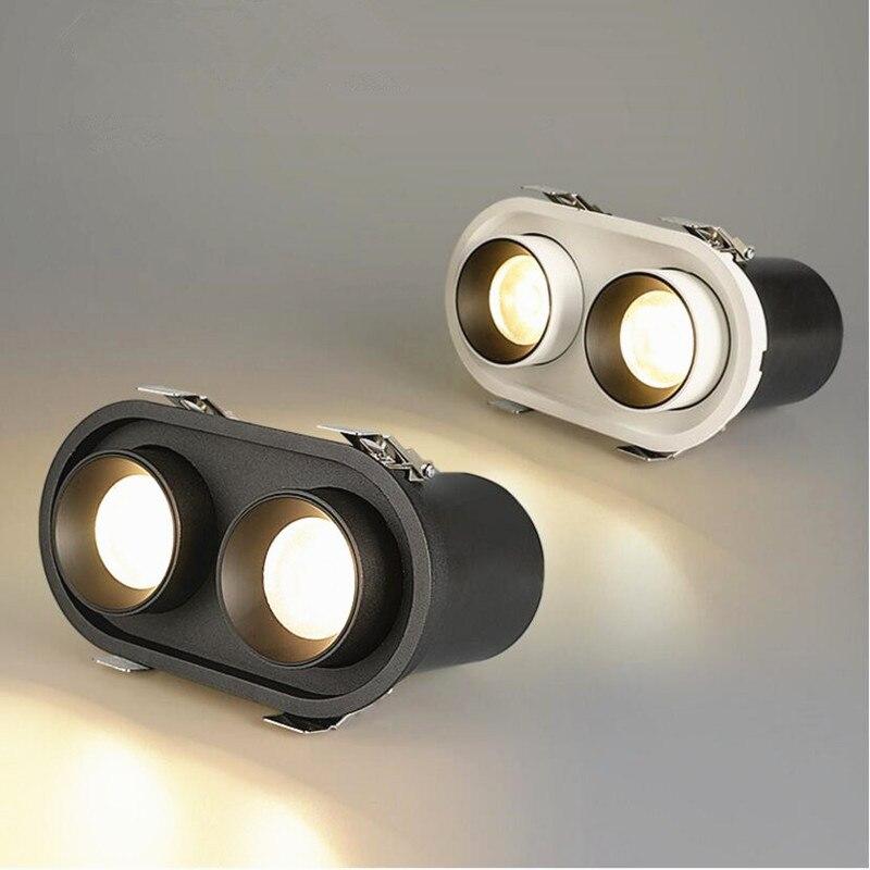 Luces LED empotradas regulables de rotación plegable 360 ° 12W18W24W COB luces LED de techo AC85 ~ 265V lámpara de pintura de fondo