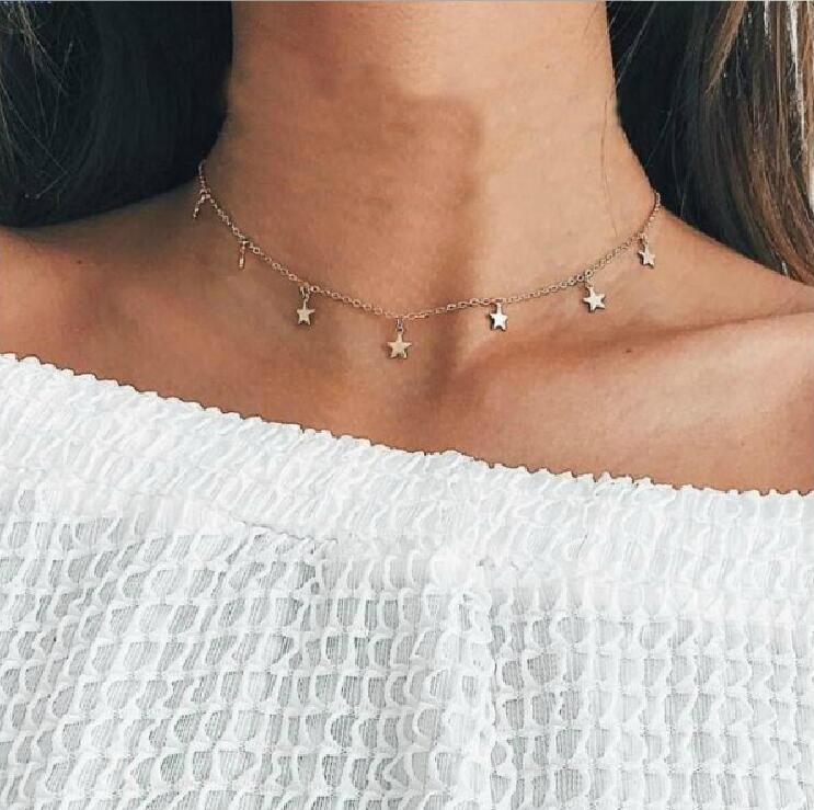 Collar X073 de moda con colgante de estrella Bohemia para mujer, gargantilla de cadena dorada, Collar corto, joyería Bohemia para mujer, collar de joyería