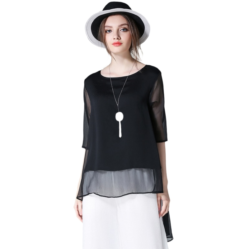 4XLwomen الصيف الشيفون البلوزات 2020 جديد الأوروبية روسيا امرأة أزياء العلامة التجارية زائد الحجم الأسود غير النظامية نصف كم البلوزات