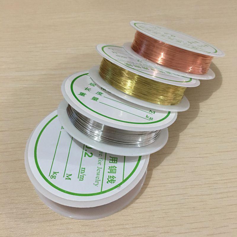 1 рулон, металлическая медная проволока, бисер, проволока из родия, золотой, красный, медный DIY, аксессуары для ювелирных изделий от 0,25 мм до 1 ...
