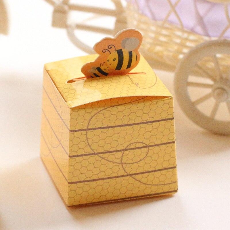 50 Uds amarillo abeja ducha para niños Favor caja de caramelos con corbata de moño bautismo regalo de cumpleaños y bautizo materiales de decoración para boda
