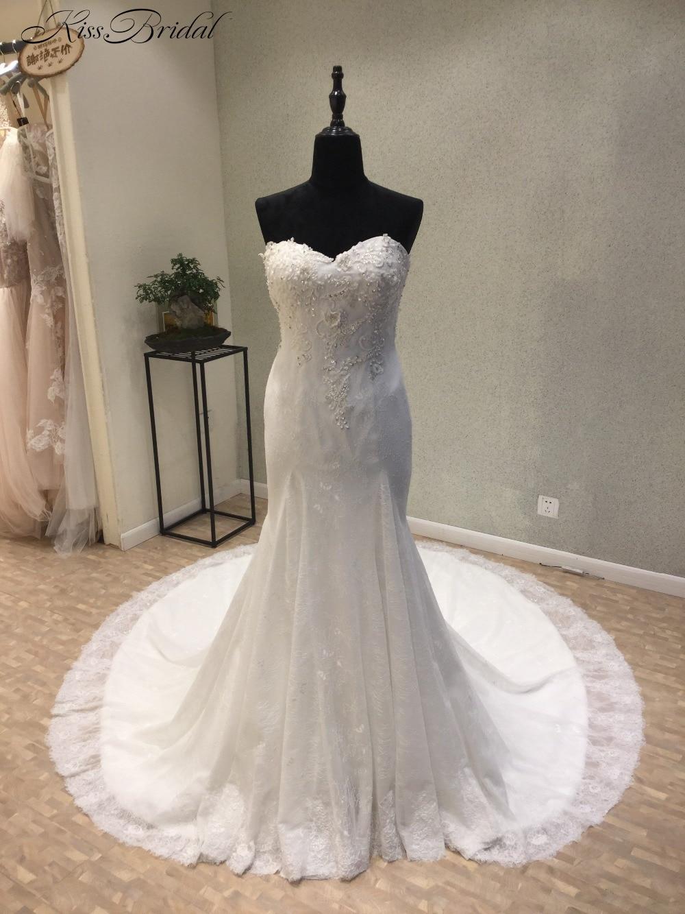 Nuevo vestido de novia de sirena 2018 escote corazón hombros descubiertos vestidos de boda de encaje vestido de novia
