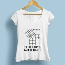 Maths triangle droit Pythagorean théorème T-Shirt femme jollypeche marque 2018 nouveau blanc casual T-Shirt femmes geek nerd T-Shirt