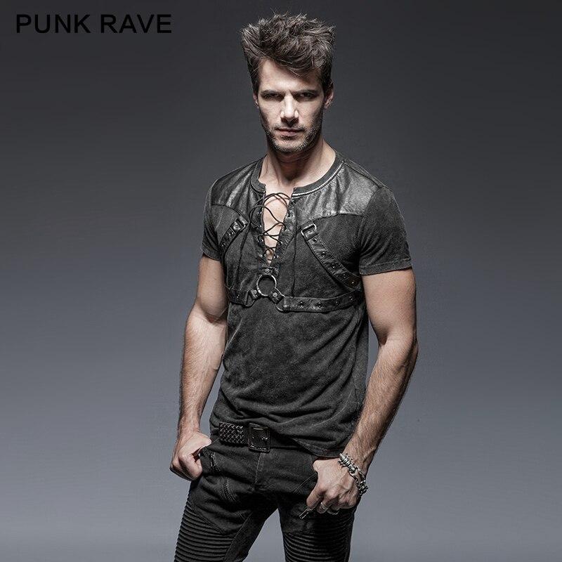 Мужская футболка в стиле стимпанк, летняя футболка с треугольным вырезом и коротким рукавом в стиле хип-хоп