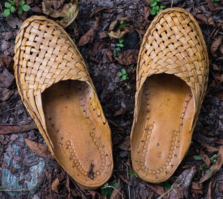 Prawdziwej skóry indie, Nepal płaskie kapcie kobiety ręcznie wielbłąda skóra tkane tkania slajdów fajne przeciągnij męskie buty prawdziwej skóry