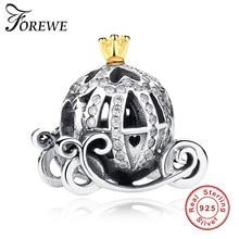 925 Sterling Silber Charme Cinderella Kürbis Wagen Gold Crown Perlen Fit Original Pandora Charme Armband Authentische Schmuck