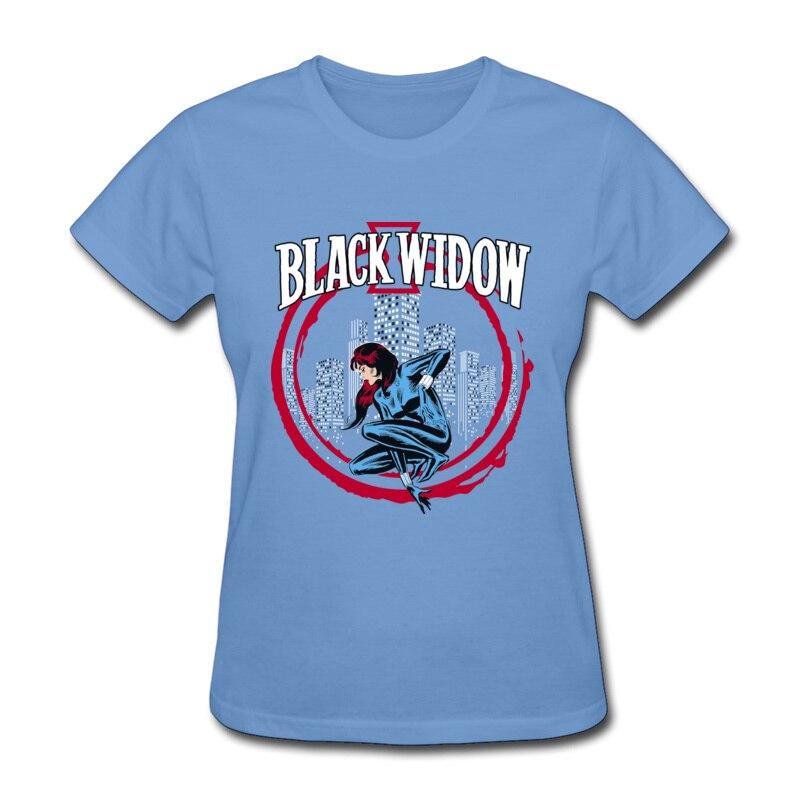 Viúva negra eua paisagem urbana t camisa marvel impresso em mulheres topos camisa o pescoço verão 100% algodão moda marca tshirts