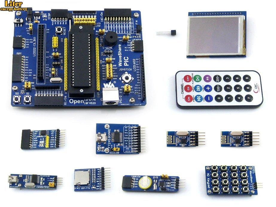 Tablero de imagen PIC18F4520-I/P PIC18F4520 Placa de desarrollo de 8 bits RISC PIC + 11 Kits de accesorios = Waveshare op18f4520 paquete de