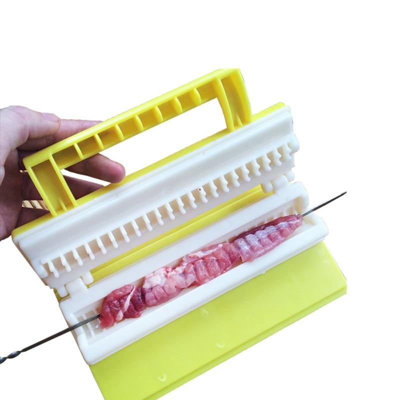 ¡Oferta! máquina de pinchos de carne ABS, dispositivo de cuerda de plástico para carne, fabricante portátil de Kebab, herramientas para pinchos de barbacoa, para carne, cerdo, Churrasco, Shish kebab