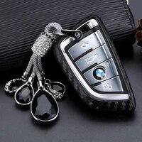 crystal pendant car key case for bmw 1 3 5 7 series x3 x5 x6 f15 f16 118i 120 218i 220i 320i 520i 740 car styling key shell