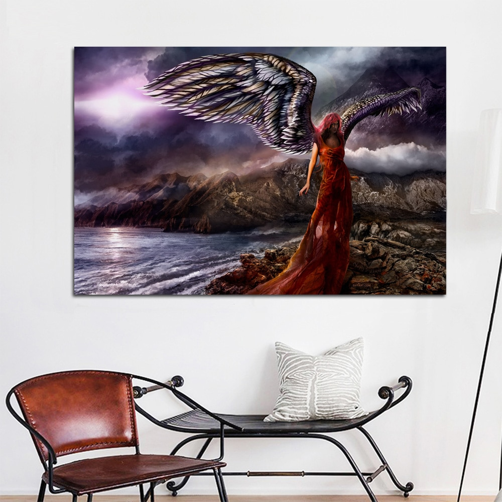 Engel dark wings Fantasie Rot Haar wohnzimmer home art decor holz rahmen stoff poster drucken KE500