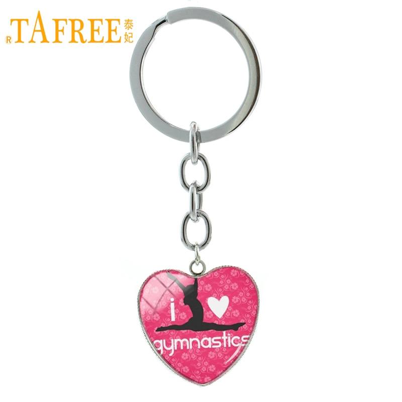 TAFREE I Love Gymnastics keychain classic fashion Gymnastics heart pendant key chain ring exquisite men women jewelry HP355