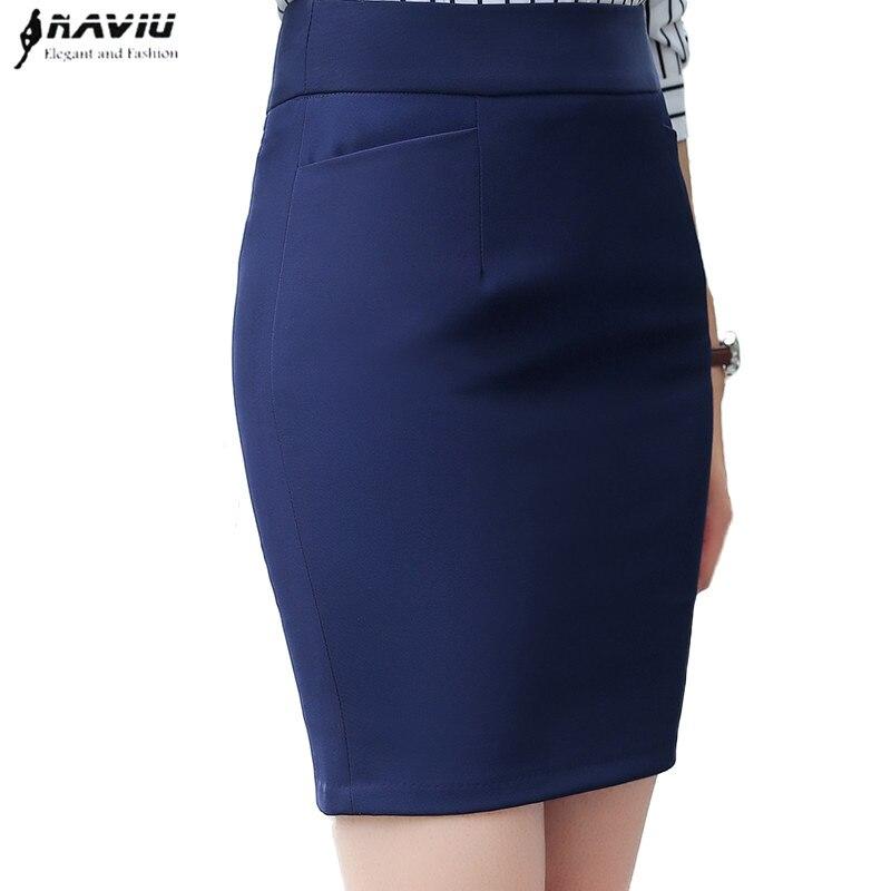 NAVIU elegant and fashion women skirt Formal office ladies Mini short skirts plus size work pencil skirt Navy blue Black