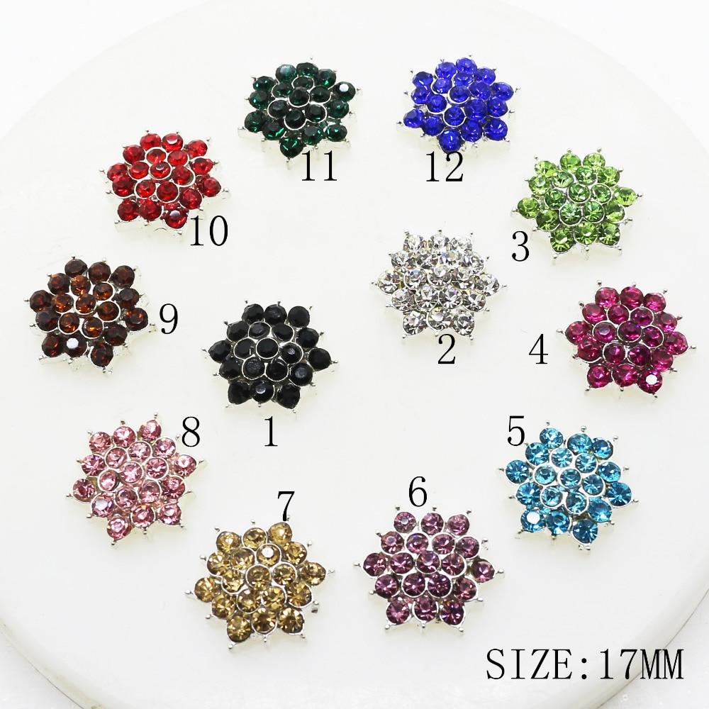 ZMASEY 10 unids/lote 17mm Multicolor estrella Rhinestone botones de Metal aleación botón para boda Bouquent pelo cinta artesanía Decoración