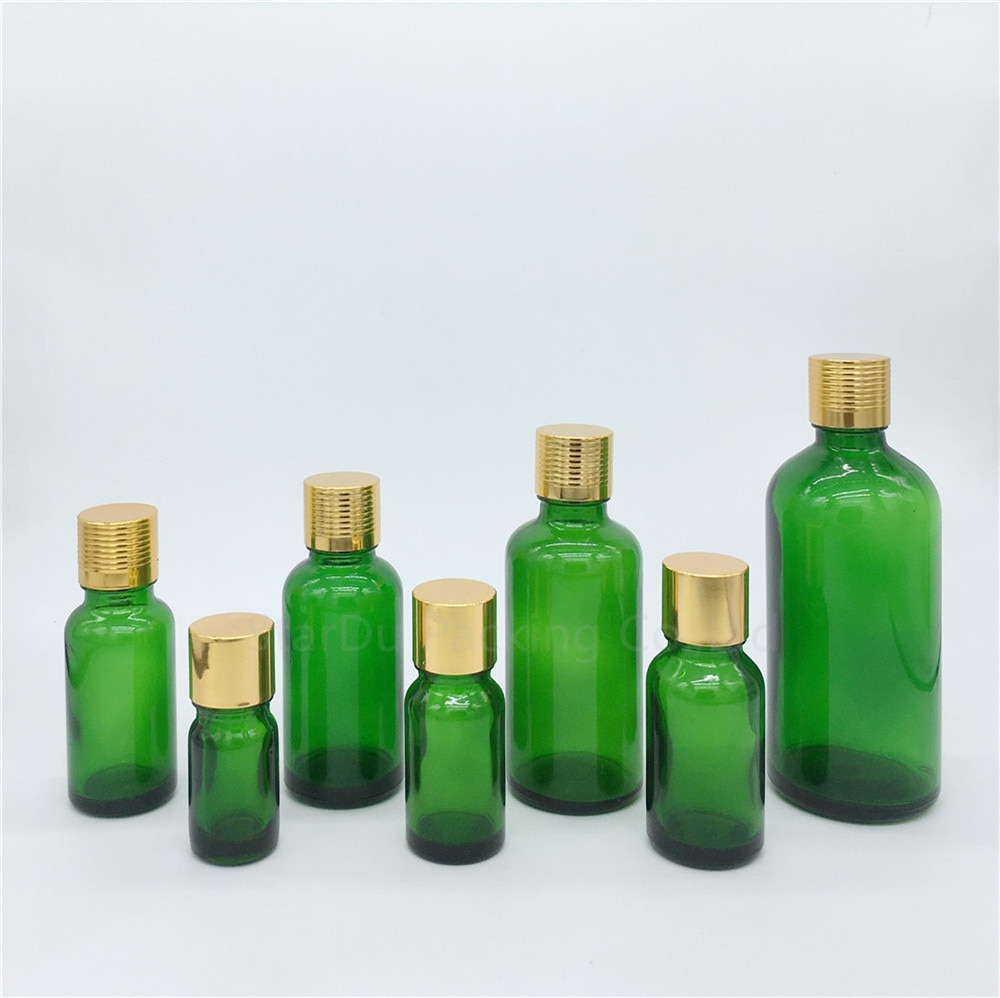 5 ml/10 ml/15 ml/20 ml/30 ML/50 ml/100 ml ampollas de botella de cristal verde botella de aceite esencial con tapón de rosca de oro botellas de Perfume