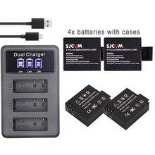Pour SJCAM 5000 bateria sj 7000 sj 4000 batterie eken sj5000 sj6000 sj7000 SJ8000 SJ9000 M10 Batteries + SJ4000 LCD 3lots chargeur