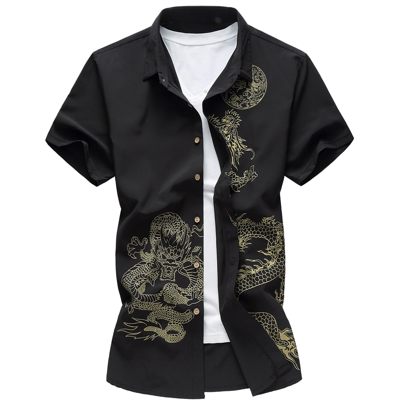 2020 new brand chinese style print shirt men short sleeve plus size 7XL mens stage shirts