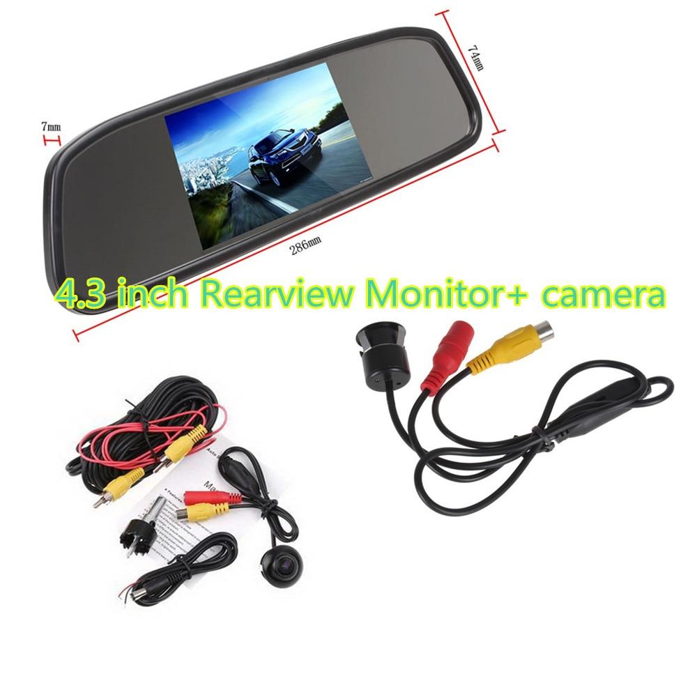 Rearview Mirror Monitor kit for Car Rear reversing backup4.3 inch tft lcd +360 degree reverse parking camera ir night vision