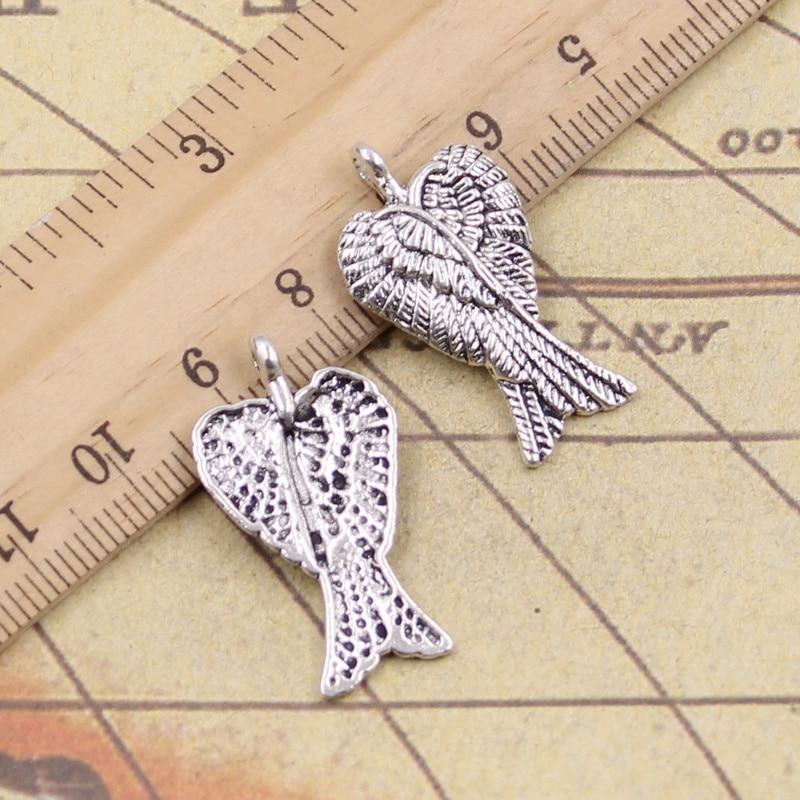 10 pçs pçs/lote encantos asas de anjo 27x15mm tibetano pingentes antigo jóias fazendo diy artesanal artesanato para pulseira colar