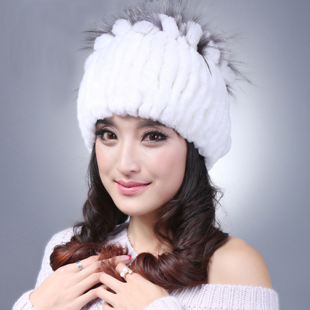 YCFUR Women Beanies Hats Winter Stripes Real Rex Rabbit Fur Hat Cap for Women Real Fur Hats Female C
