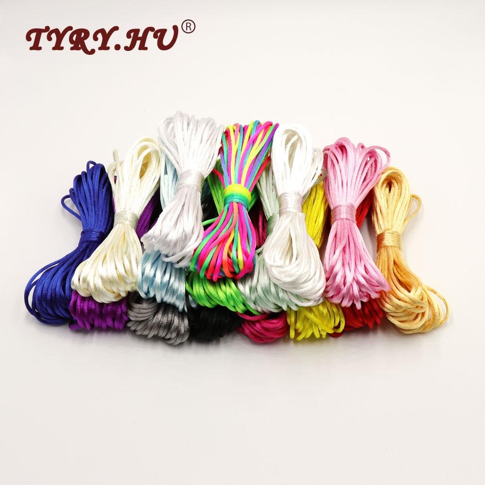 Многоцветный сатиновый нейлоновый шнур TYRY. HU, 10 метров, сплошной канат для изготовления ювелирных изделий, хлопковый шнур с бусинами для детей, 2 мм, Плетеный шелковый шнур