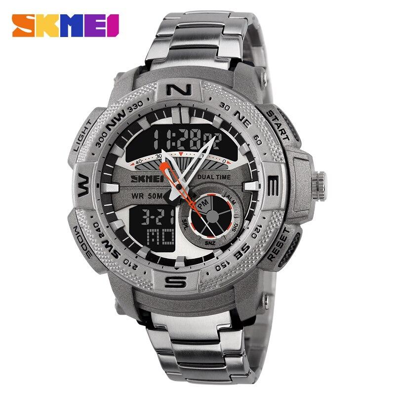 De Lujo reloj deportivo de exterior hombres cuarzo digital relojes de alarma Chrono para reloj de luz analógico reloj de pulsera azul del reloj SKMEI
