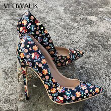 Veowalk 2018 negro Graffiti coloridas mujeres bombas Sexy tacones altos boda fiesta mujeres zapatos Stilettos aceptar personalizado