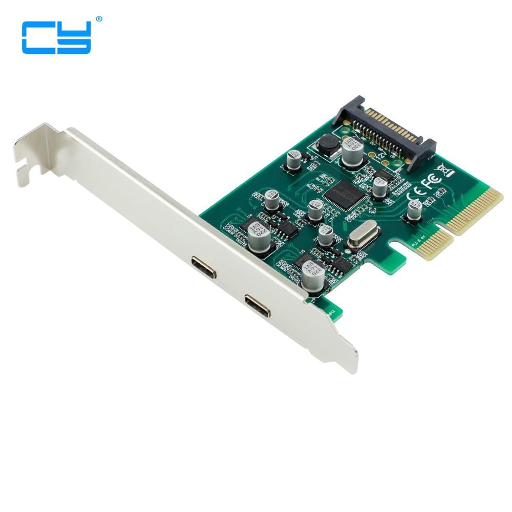 2 منافذ USB-C USB 3.1 Type-C PCI بطاقة express + PCIe الانظار قوس pci-e 4x إلى usb3.1 نوع C محول SuperSpeed 10Gbps