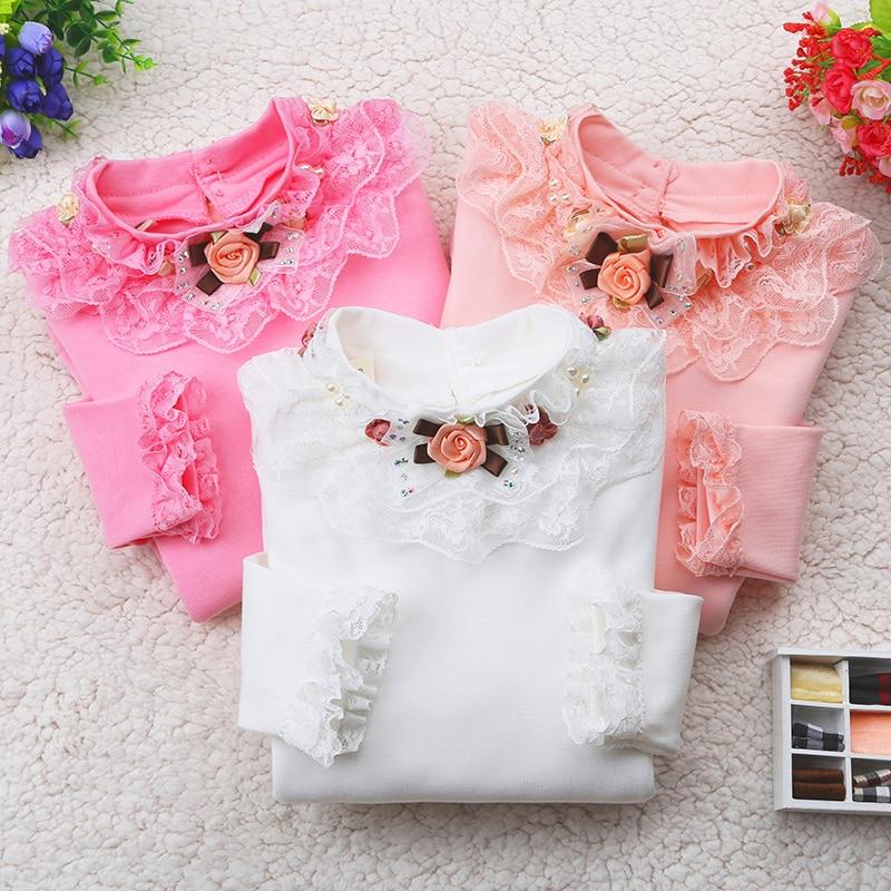 Autumn Kids Girls T-shirt Long Sleeve Cotton Winter 2017 Warm Flower Tops Children Bottoming Add Wool Tee Shirts Teenage Blouses