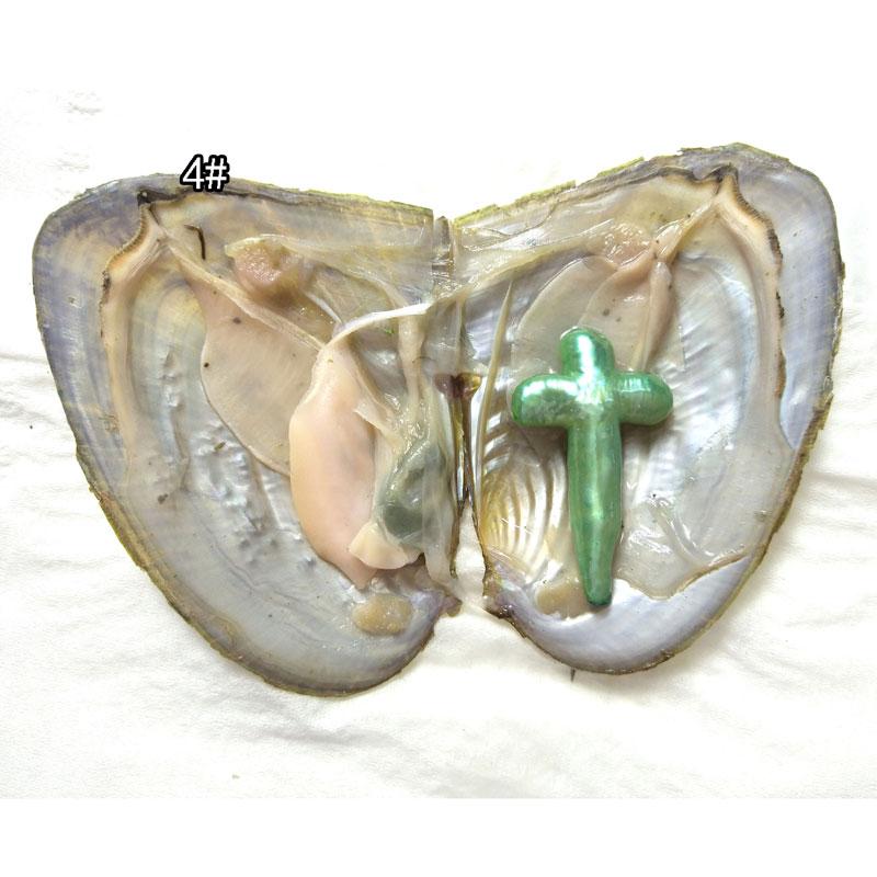 20 piezas AA + una perla cruzada barroca Natural verde de 15-40mm con perla fresca de ostra al vacío en Oyster