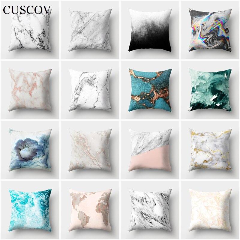 Nueva funda de cojín de sofá CUSCOV geométrica con imagen de paisaje marino, funda de almohada de poliéster para decoración de boda, cubre almohadas de casa, regalo
